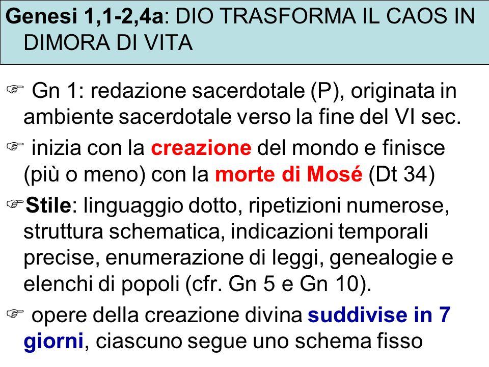 Genesi 1,1-2,4a: DIO TRASFORMA IL CAOS IN DIMORA DI VITA
