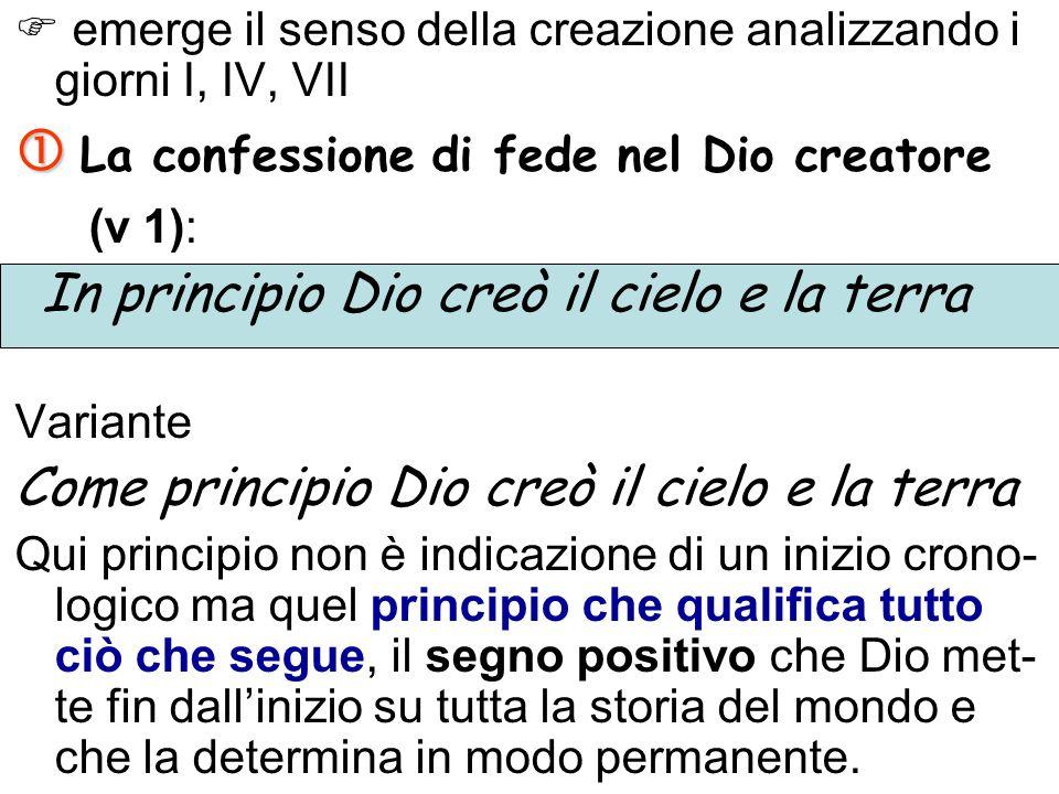  La confessione di fede nel Dio creatore