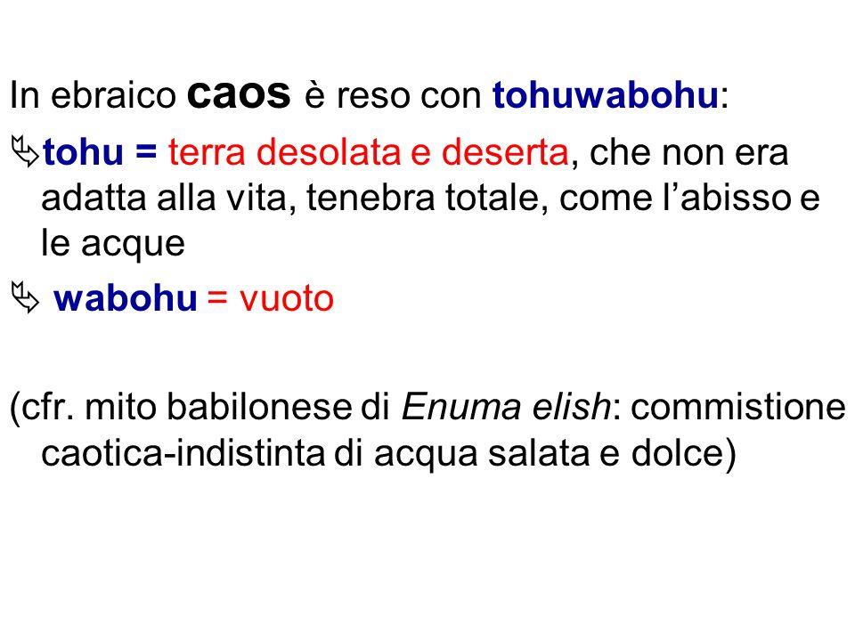 In ebraico caos è reso con tohuwabohu: