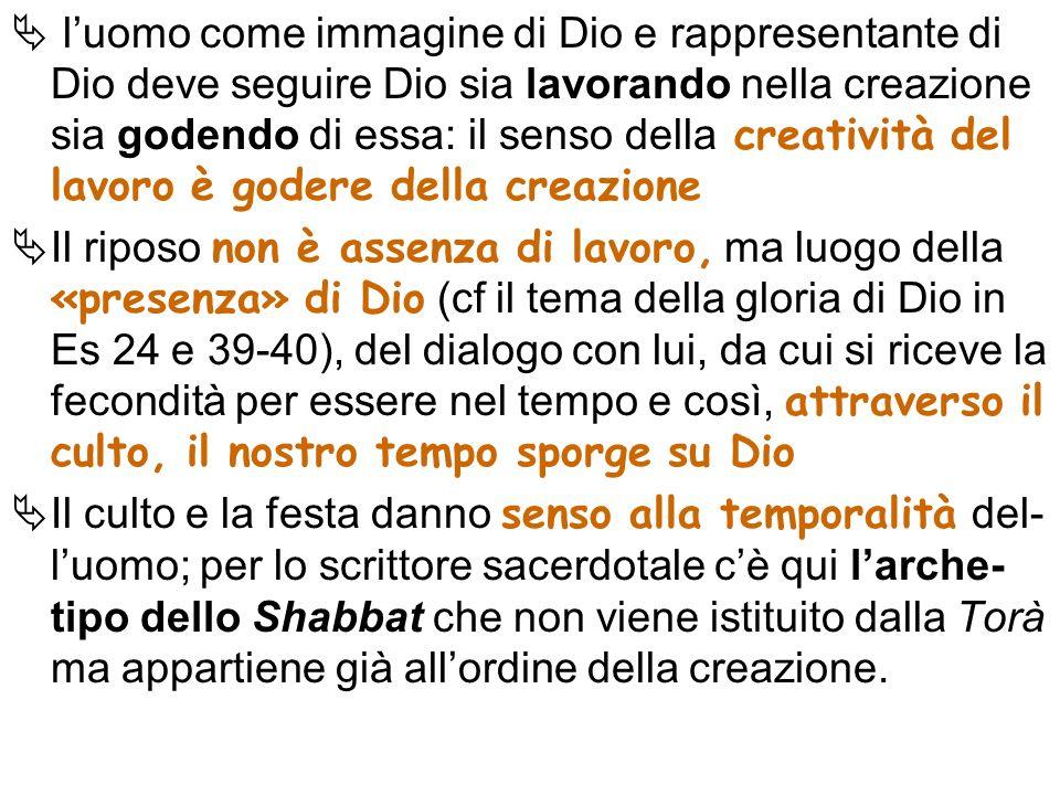 l'uomo come immagine di Dio e rappresentante di Dio deve seguire Dio sia lavorando nella creazione sia godendo di essa: il senso della creatività del lavoro è godere della creazione