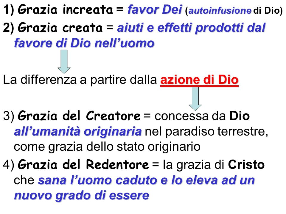1) Grazia increata = favor Dei (autoinfusione di Dio)