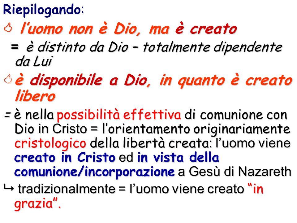  l'uomo non è Dio, ma è creato