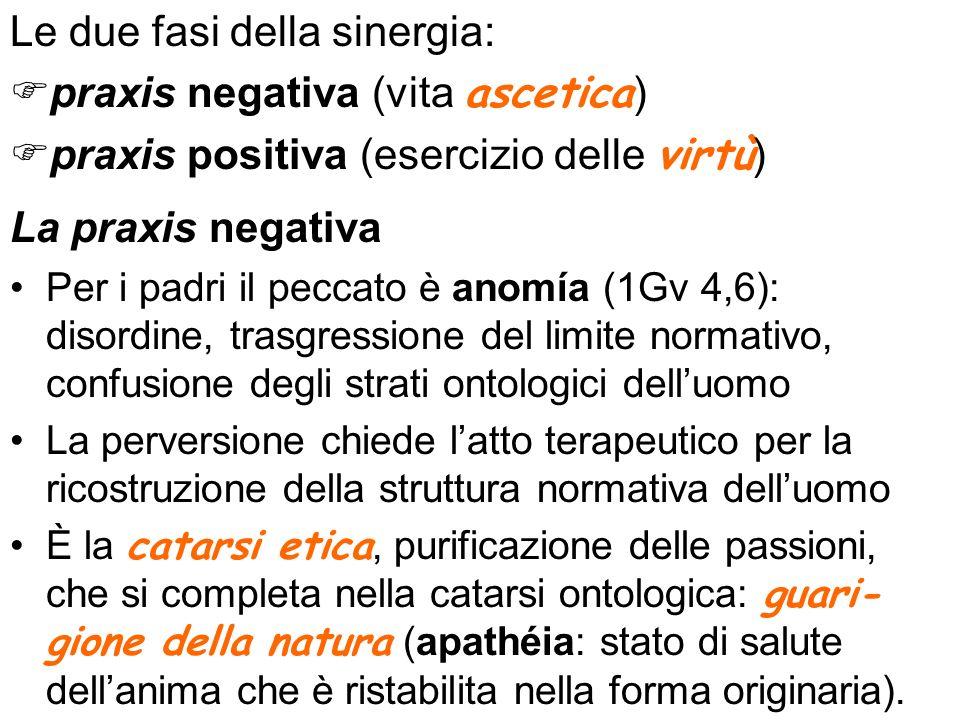 Le due fasi della sinergia: praxis negativa (vita ascetica)