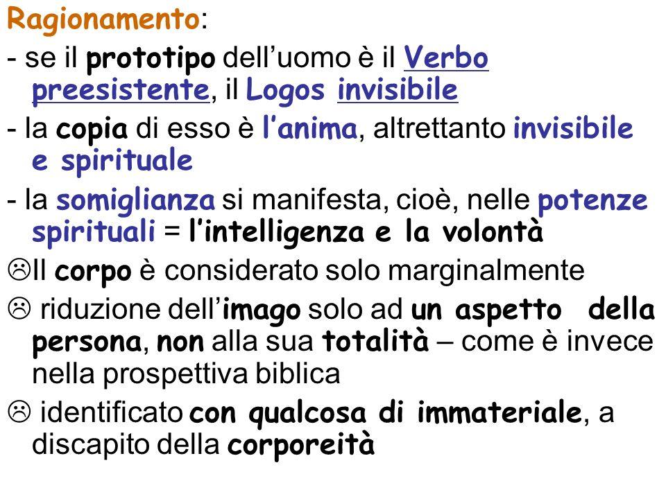 Ragionamento: - se il prototipo dell'uomo è il Verbo preesistente, il Logos invisibile.