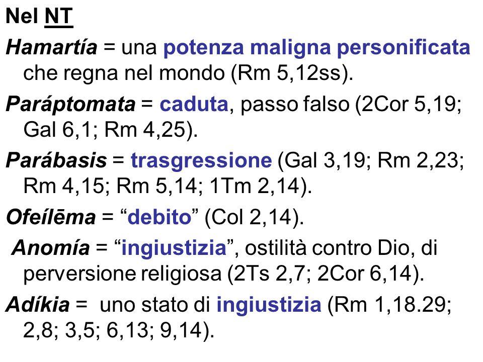 Nel NT Hamartía = una potenza maligna personificata che regna nel mondo (Rm 5,12ss).