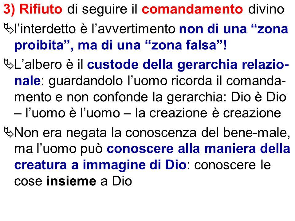 3) Rifiuto di seguire il comandamento divino