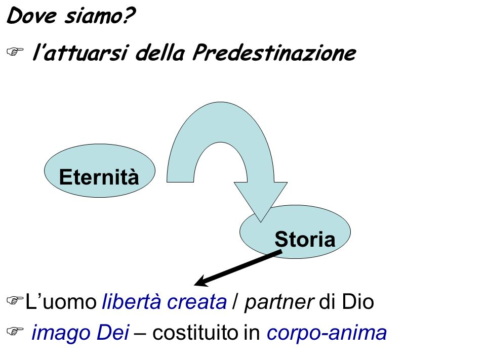 Dove siamo  l'attuarsi della Predestinazione. Eternità. Storia. L'uomo libertà creata / partner di Dio.