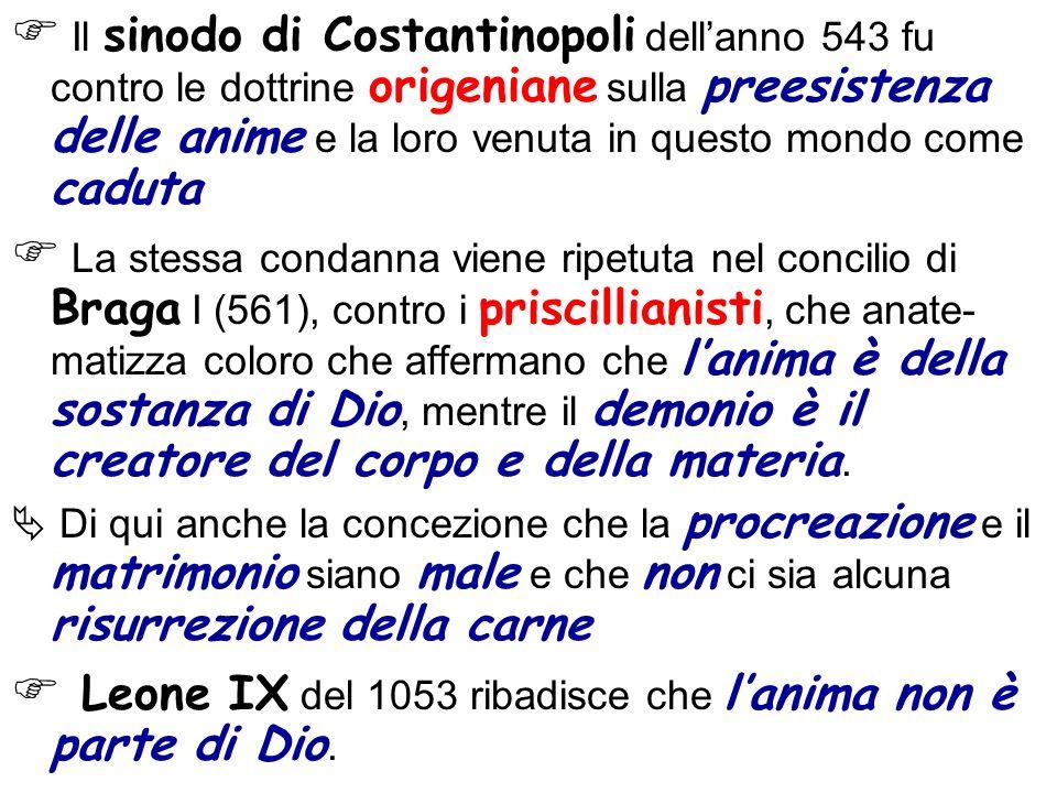  Leone IX del 1053 ribadisce che l'anima non è parte di Dio.