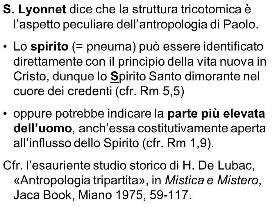 S. Lyonnet dice che la struttura tricotomica è l'aspetto peculiare dell'antropologia di Paolo.