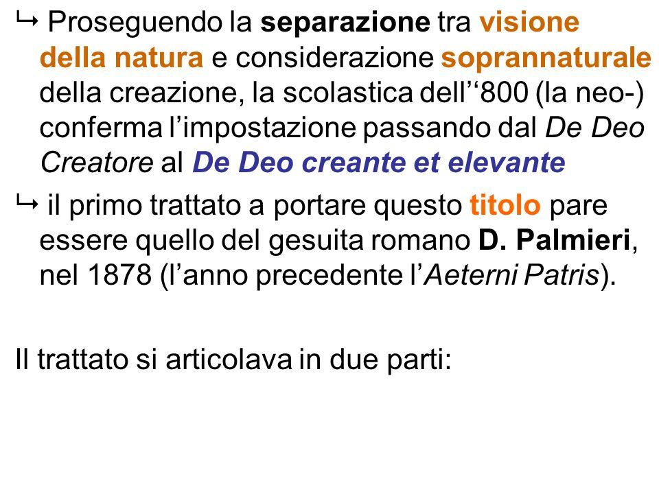 Proseguendo la separazione tra visione della natura e considerazione soprannaturale della creazione, la scolastica dell''800 (la neo-) conferma l'impostazione passando dal De Deo Creatore al De Deo creante et elevante
