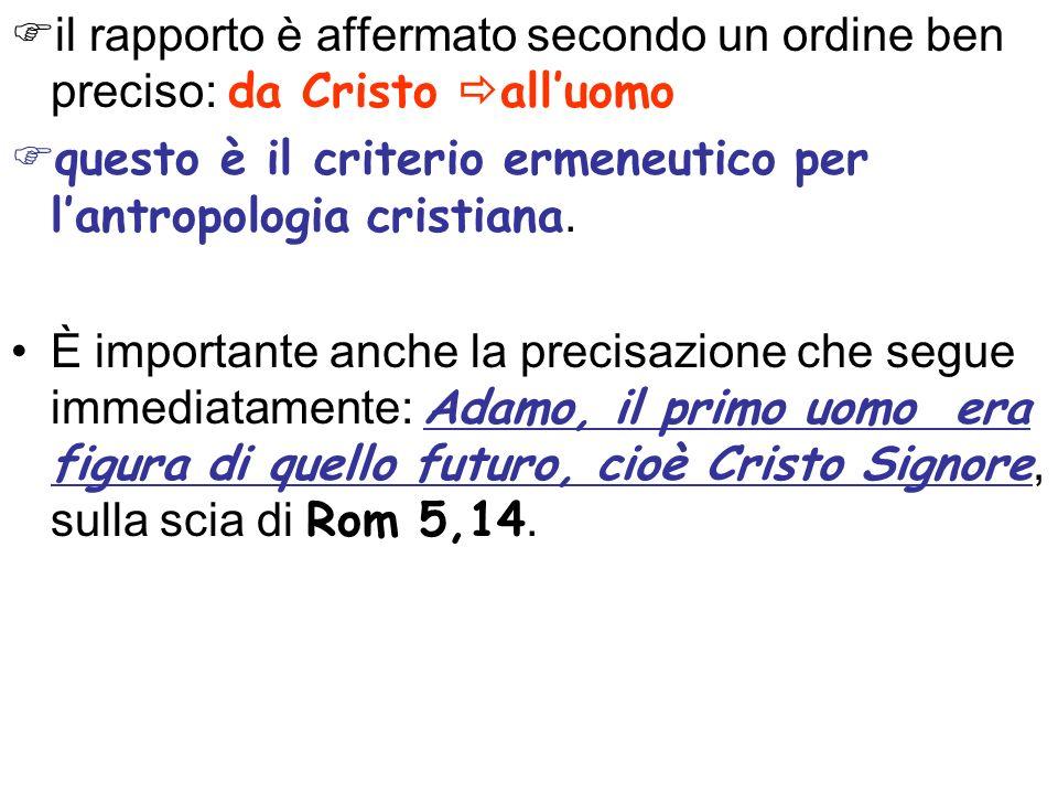 il rapporto è affermato secondo un ordine ben preciso: da Cristo all'uomo