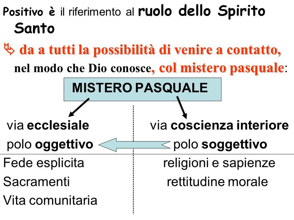 Positivo è il riferimento al ruolo dello Spirito Santo