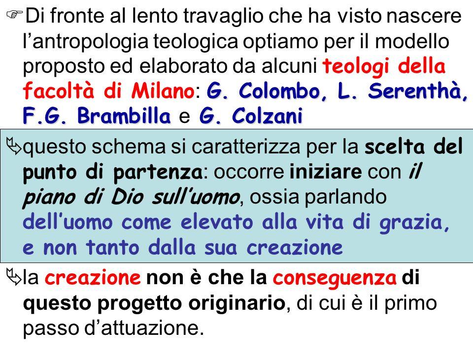 Di fronte al lento travaglio che ha visto nascere l'antropologia teologica optiamo per il modello proposto ed elaborato da alcuni teologi della facoltà di Milano: G. Colombo, L. Serenthà, F.G. Brambilla e G. Colzani