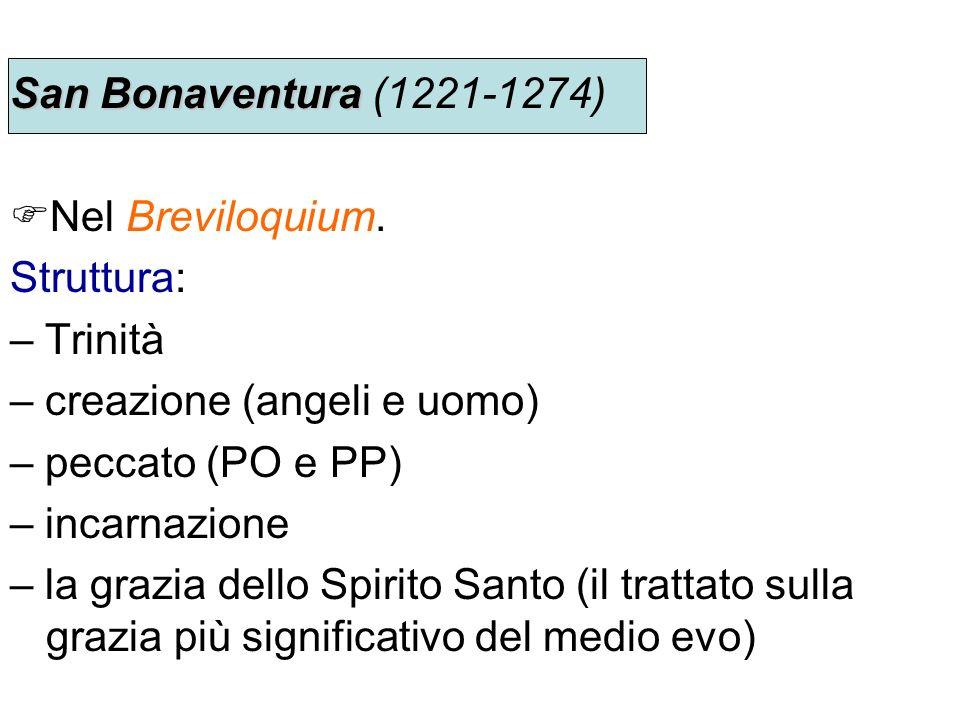 San Bonaventura (1221-1274) Nel Breviloquium. Struttura: – Trinità. – creazione (angeli e uomo) – peccato (PO e PP)
