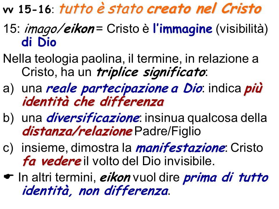 15: imago/eikon = Cristo è l'immagine (visibilità) di Dio