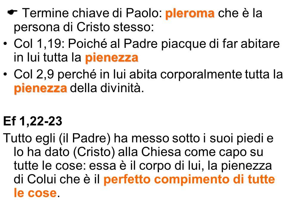  Termine chiave di Paolo: pleroma che è la persona di Cristo stesso: