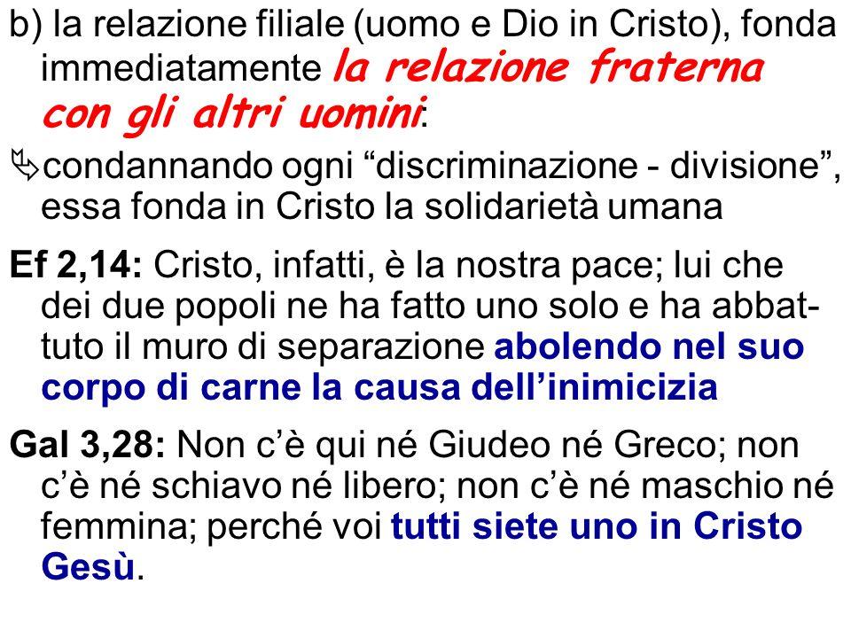 b) la relazione filiale (uomo e Dio in Cristo), fonda immediatamente la relazione fraterna con gli altri uomini: