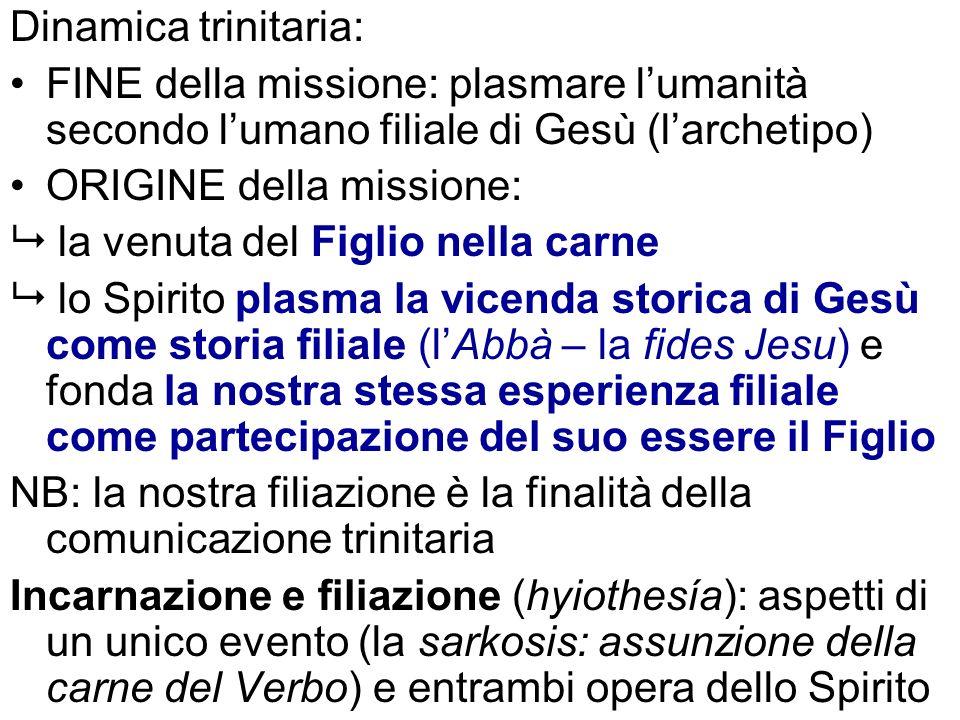 Dinamica trinitaria:FINE della missione: plasmare l'umanità secondo l'umano filiale di Gesù (l'archetipo)