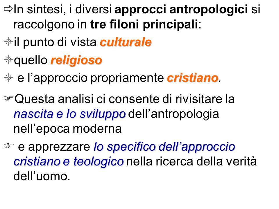In sintesi, i diversi approcci antropologici si raccolgono in tre filoni principali: