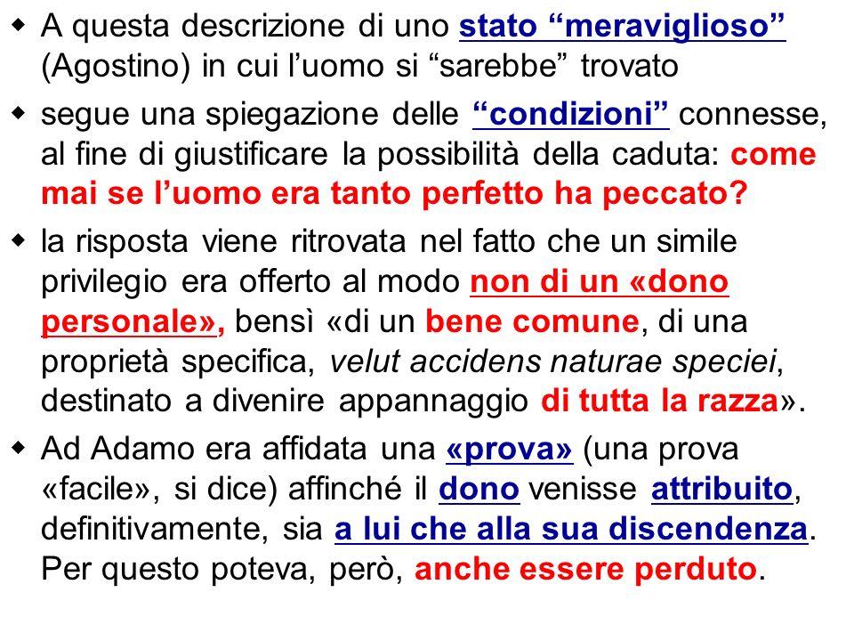 A questa descrizione di uno stato meraviglioso (Agostino) in cui l'uomo si sarebbe trovato