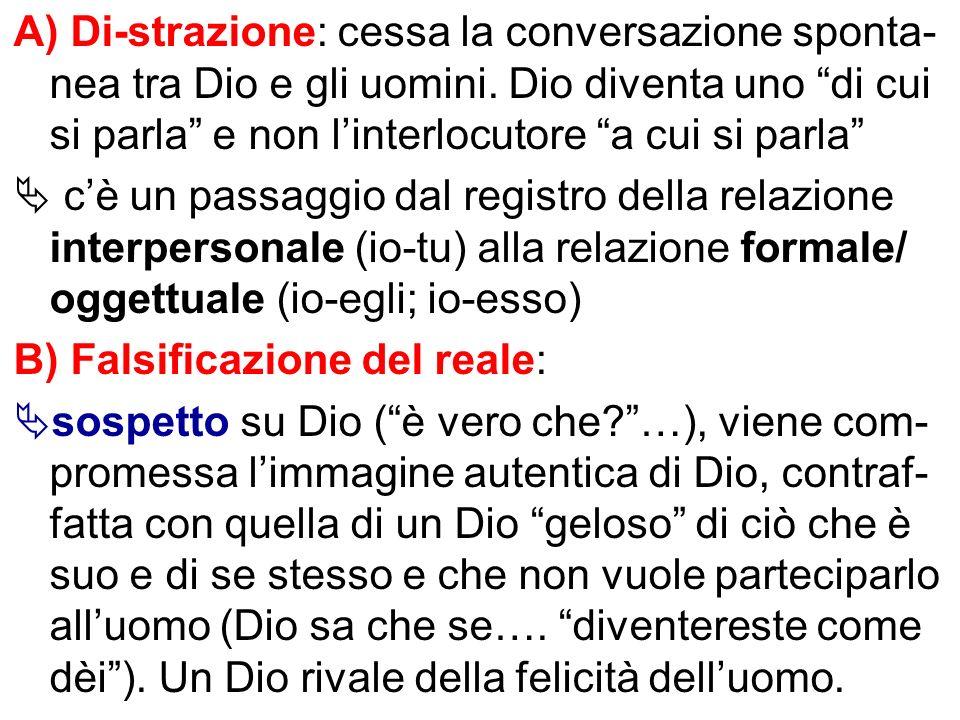 A) Di-strazione: cessa la conversazione sponta-nea tra Dio e gli uomini. Dio diventa uno di cui si parla e non l'interlocutore a cui si parla