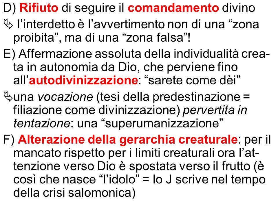 D) Rifiuto di seguire il comandamento divino
