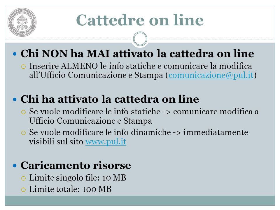 Cattedre on line Chi NON ha MAI attivato la cattedra on line