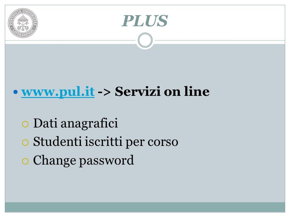 PLUS www.pul.it -> Servizi on line Dati anagrafici
