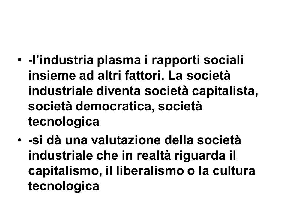 -l'industria plasma i rapporti sociali insieme ad altri fattori