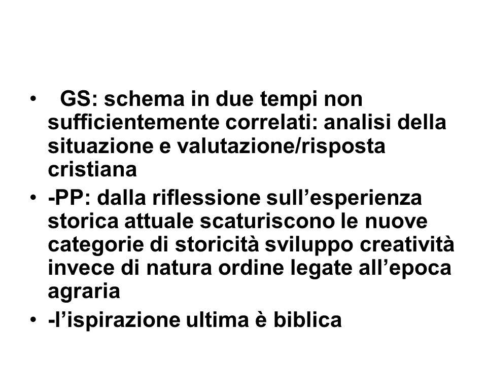 GS: schema in due tempi non sufficientemente correlati: analisi della situazione e valutazione/risposta cristiana