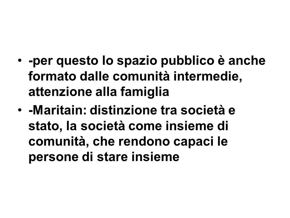 -per questo lo spazio pubblico è anche formato dalle comunità intermedie, attenzione alla famiglia