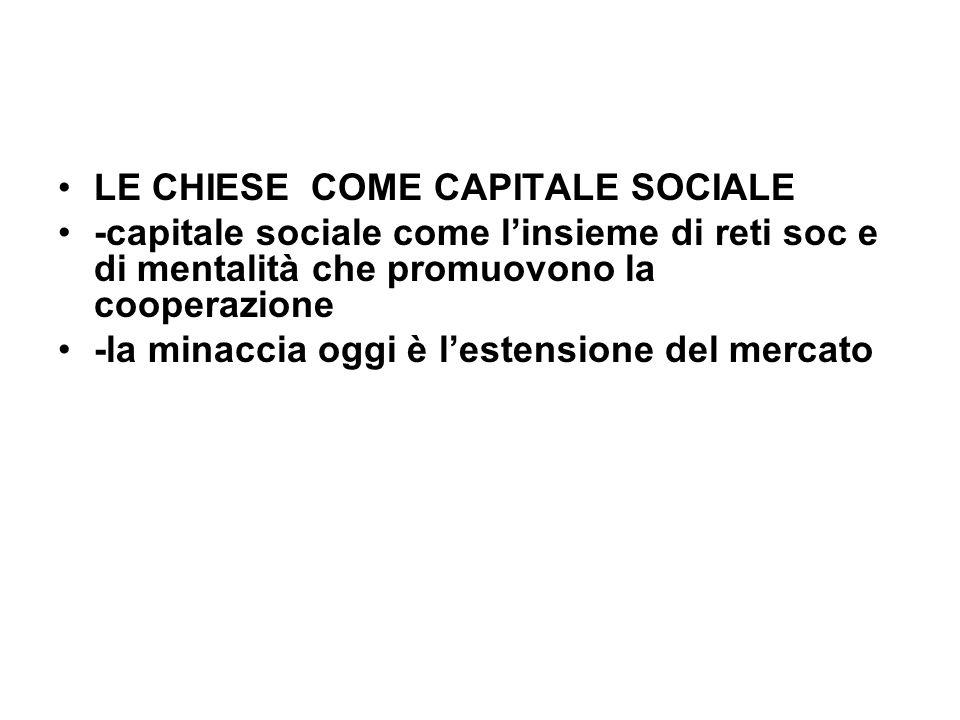 LE CHIESE COME CAPITALE SOCIALE