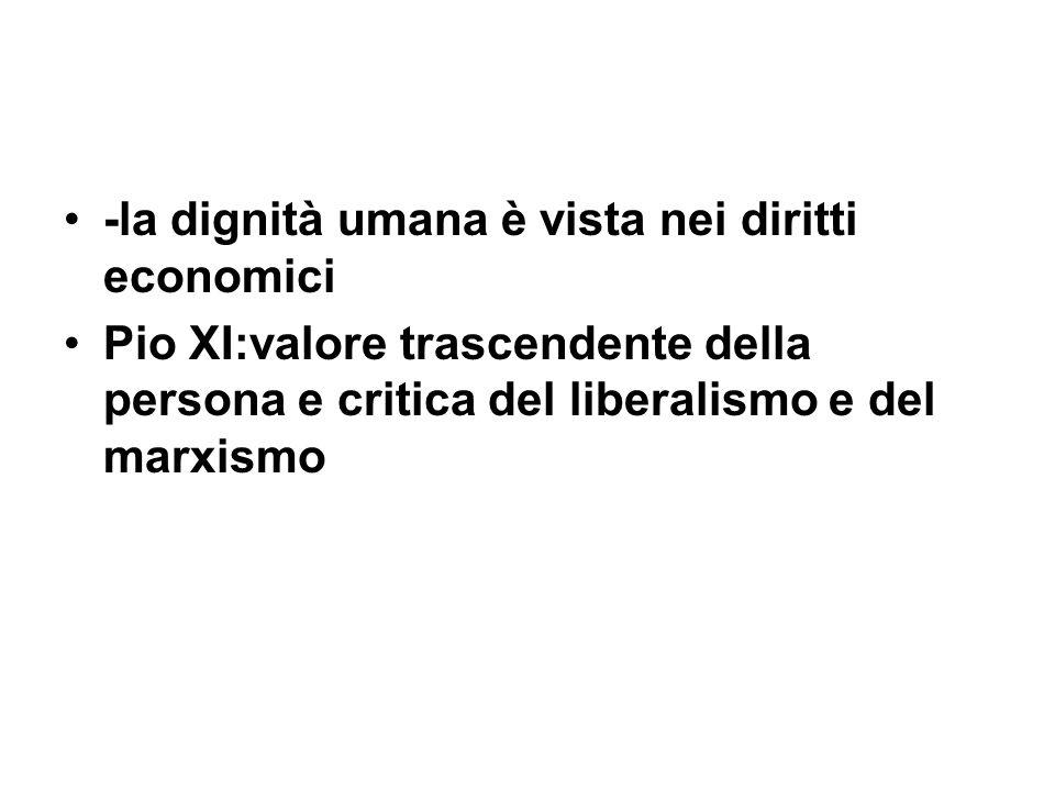 -la dignità umana è vista nei diritti economici
