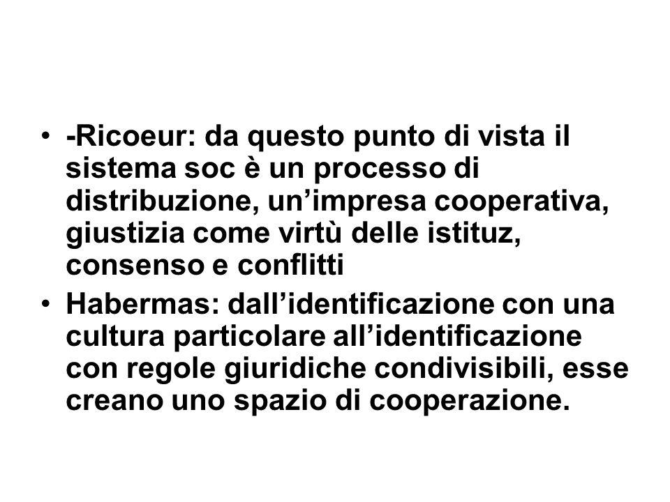 -Ricoeur: da questo punto di vista il sistema soc è un processo di distribuzione, un'impresa cooperativa, giustizia come virtù delle istituz, consenso e conflitti