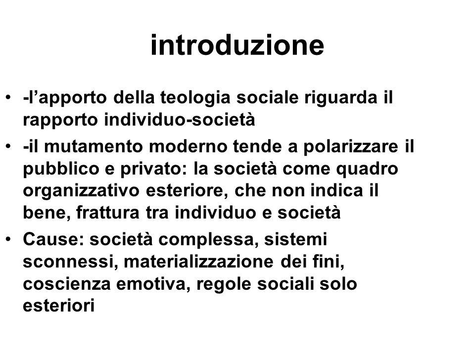 introduzione -l'apporto della teologia sociale riguarda il rapporto individuo-società.
