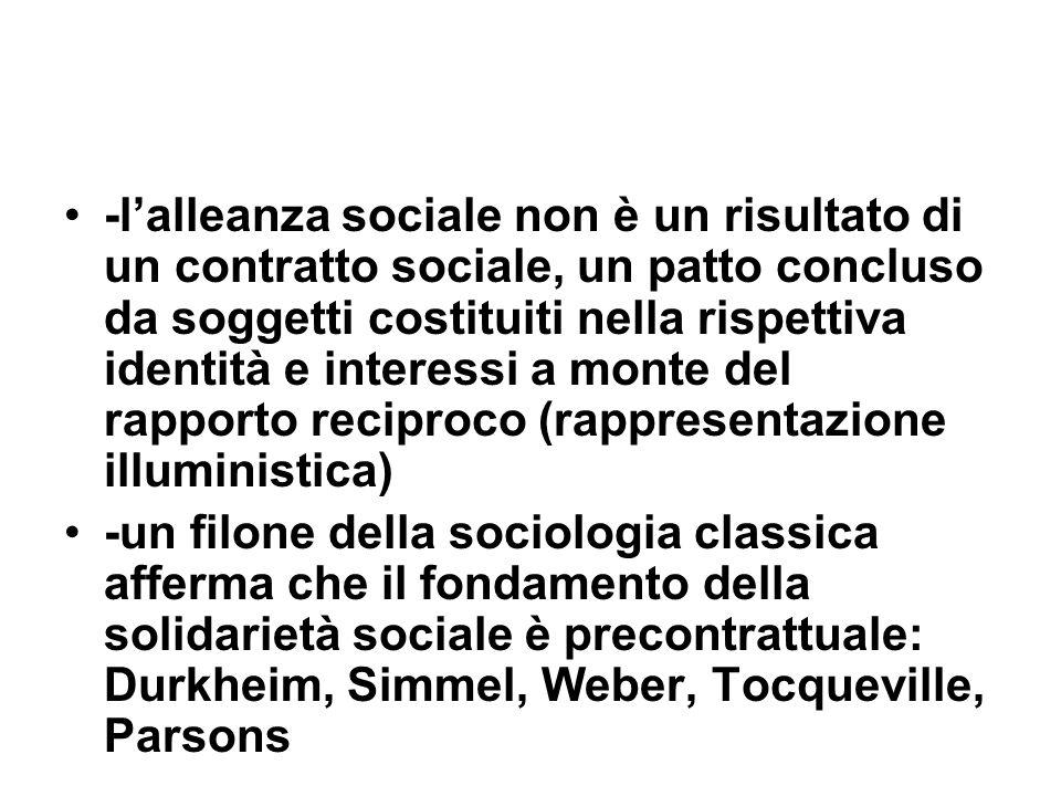 -l'alleanza sociale non è un risultato di un contratto sociale, un patto concluso da soggetti costituiti nella rispettiva identità e interessi a monte del rapporto reciproco (rappresentazione illuministica)