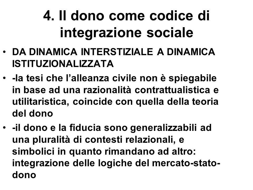 4. Il dono come codice di integrazione sociale