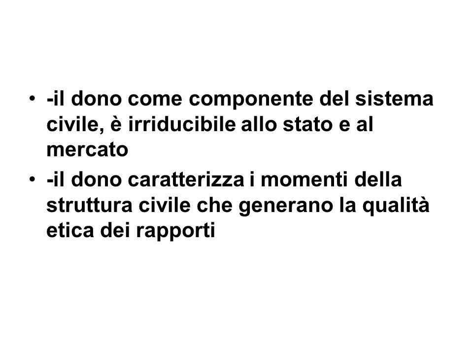 -il dono come componente del sistema civile, è irriducibile allo stato e al mercato