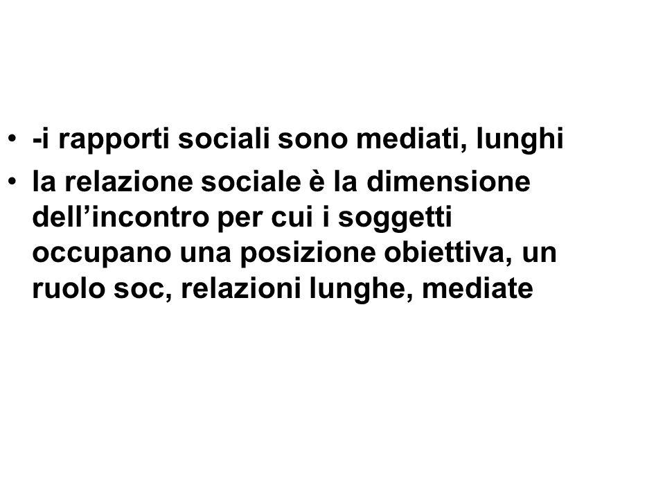 -i rapporti sociali sono mediati, lunghi
