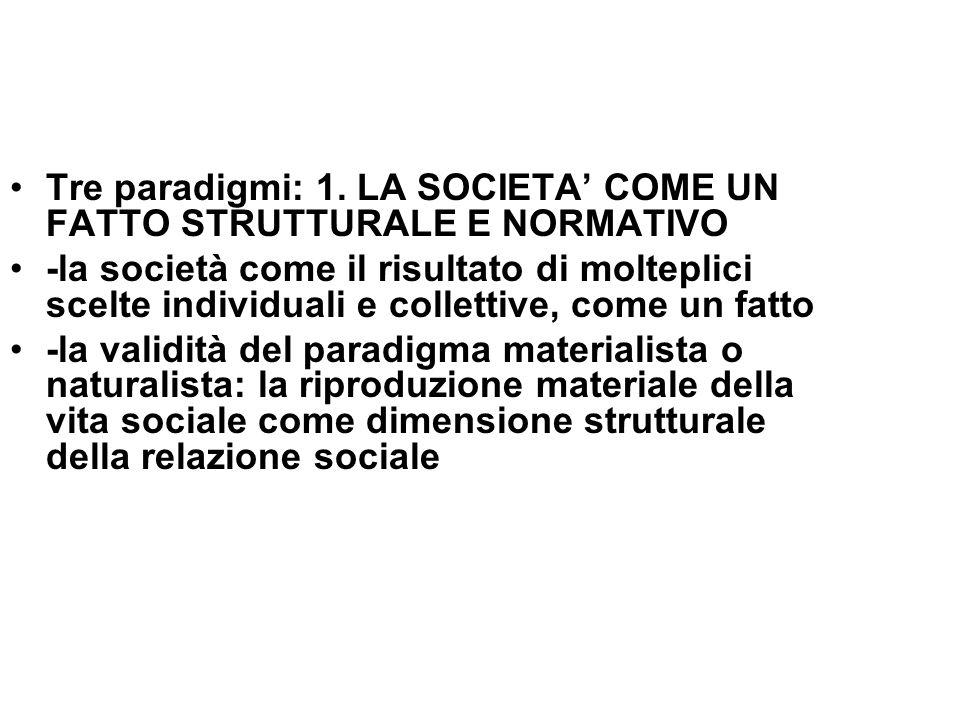 Tre paradigmi: 1. LA SOCIETA' COME UN FATTO STRUTTURALE E NORMATIVO