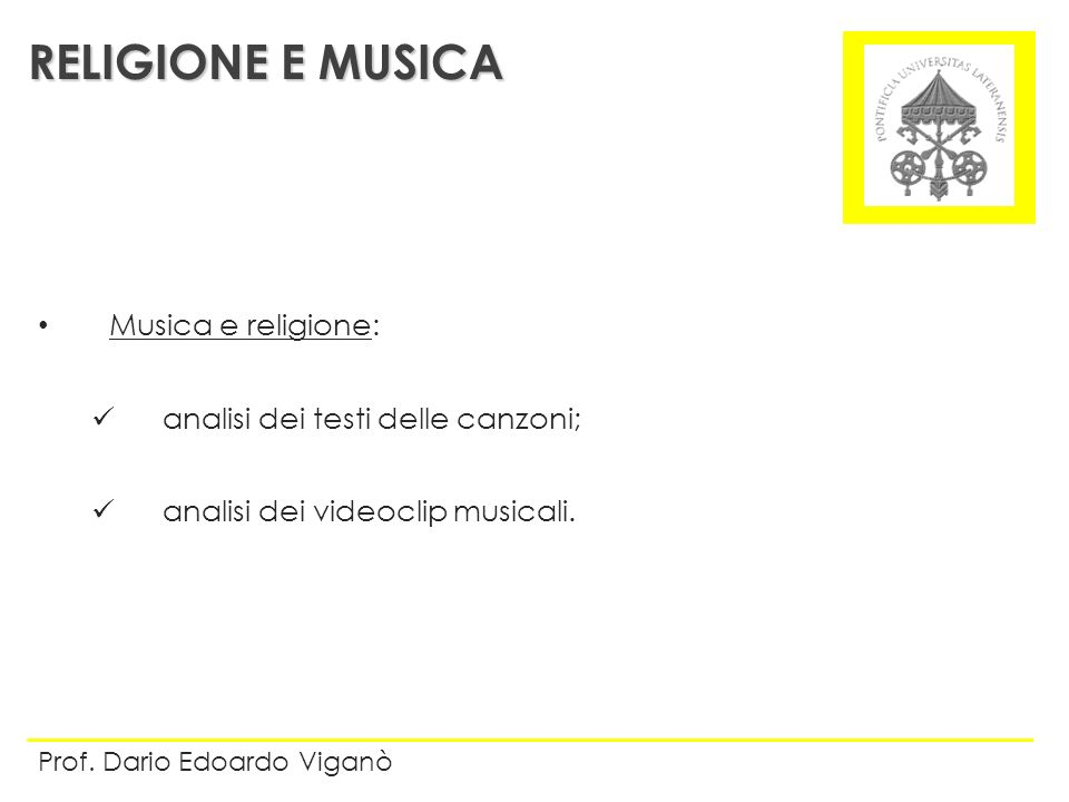 RELIGIONE E MUSICA Musica e religione: