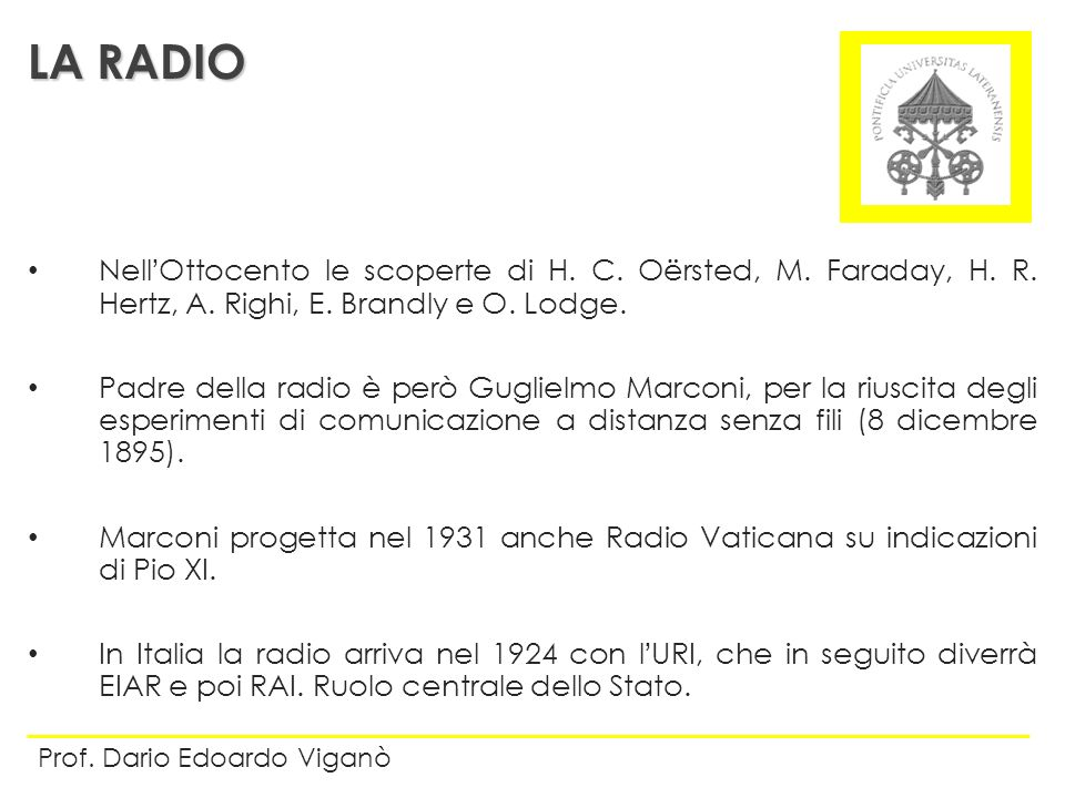 LA RADIO Nell'Ottocento le scoperte di H. C. Oërsted, M. Faraday, H. R. Hertz, A. Righi, E. Brandly e O. Lodge.