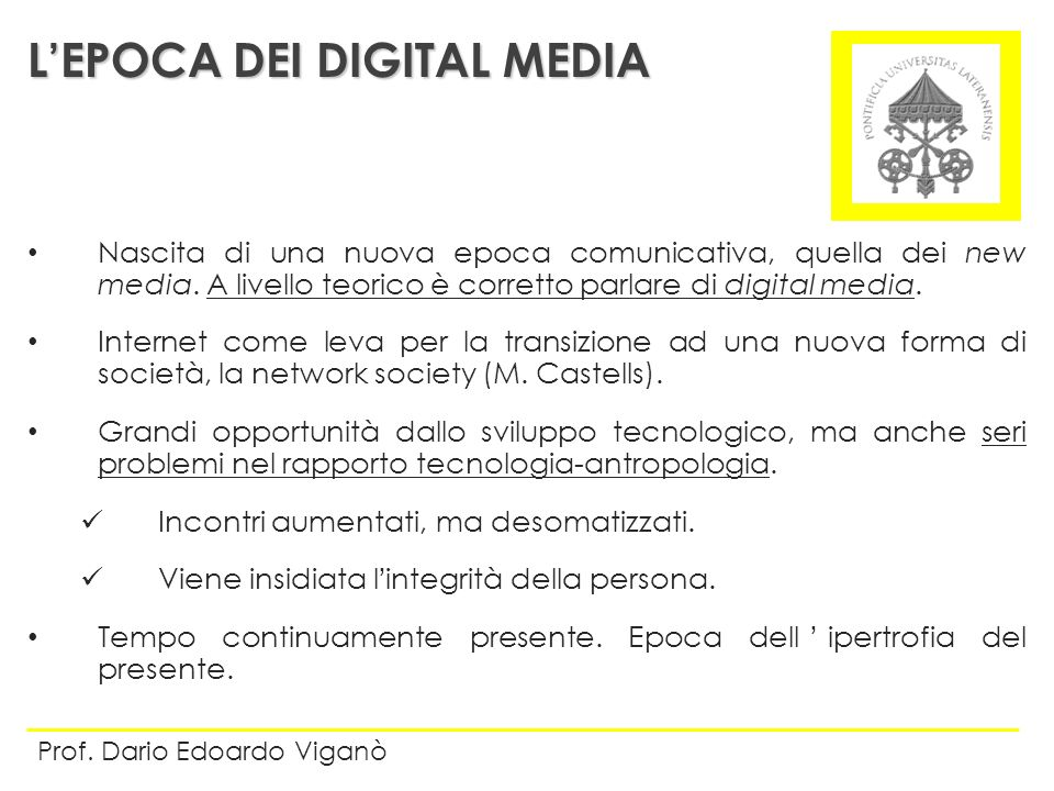 L'EPOCA DEI DIGITAL MEDIA