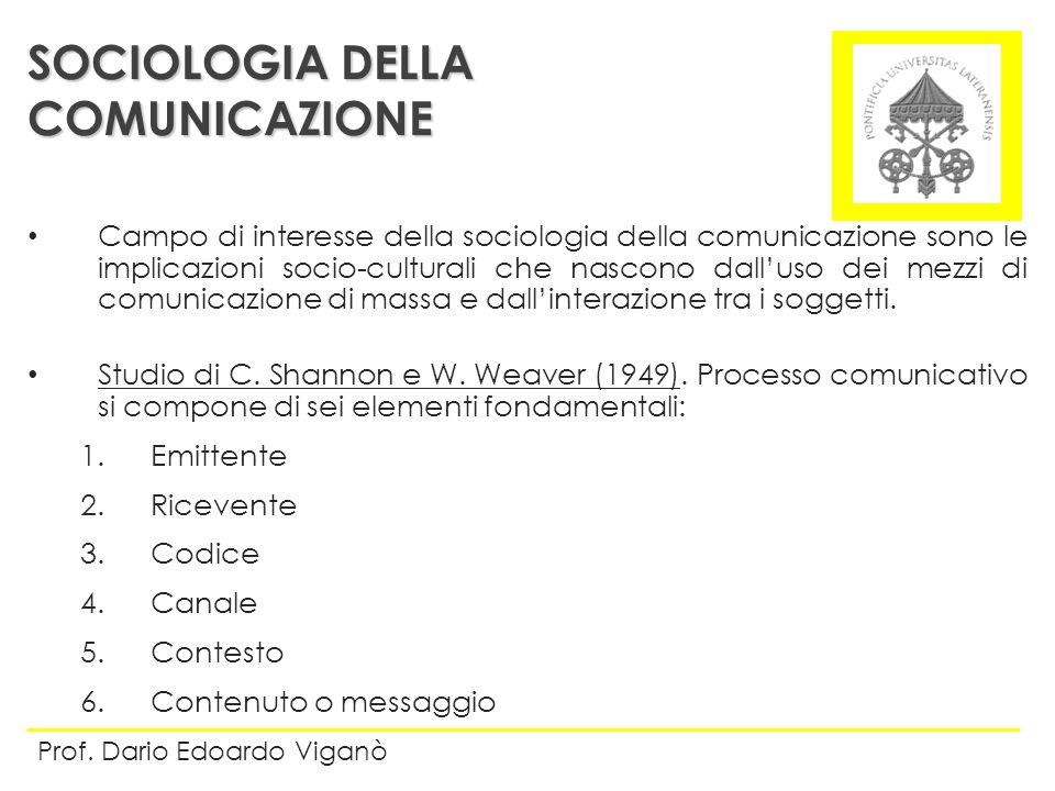 SOCIOLOGIA DELLA COMUNICAZIONE