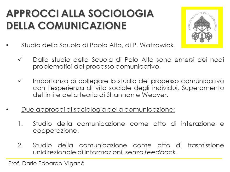 APPROCCI ALLA SOCIOLOGIA DELLA COMUNICAZIONE