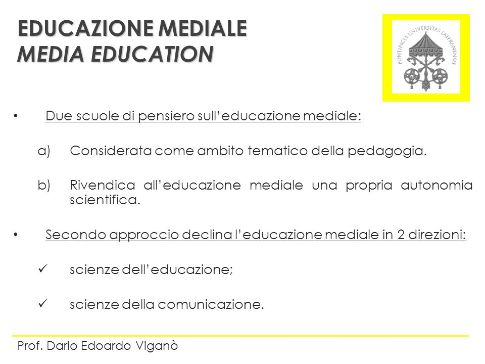 EDUCAZIONE MEDIALE MEDIA EDUCATION
