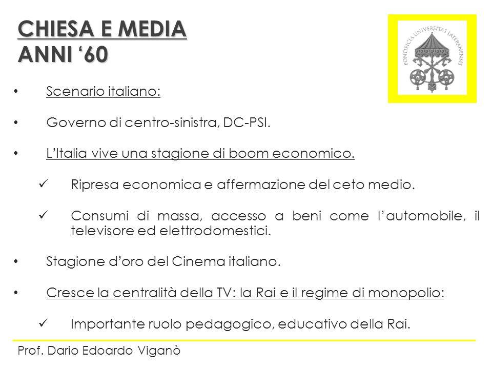 CHIESA E MEDIA ANNI '60 Scenario italiano: