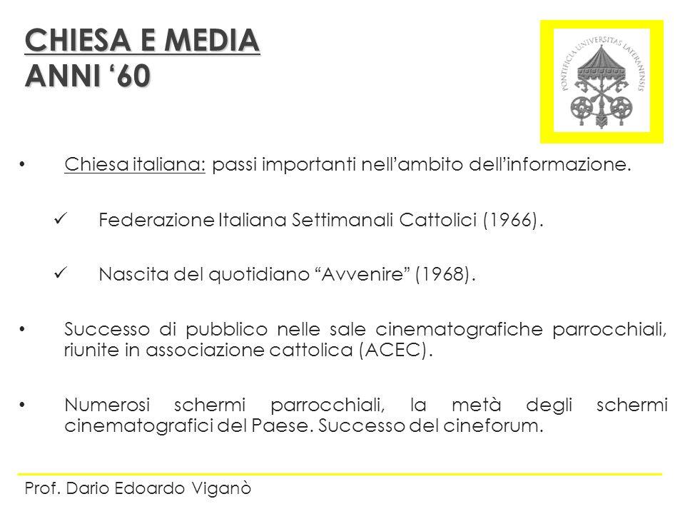 CHIESA E MEDIA ANNI '60. Chiesa italiana: passi importanti nell'ambito dell'informazione. Federazione Italiana Settimanali Cattolici (1966).