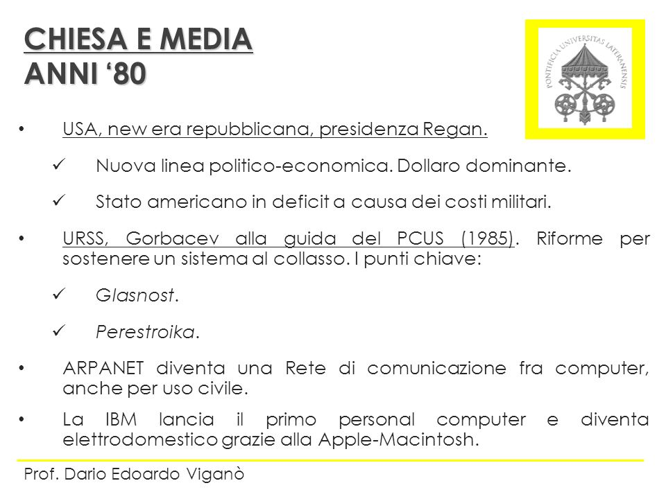 CHIESA E MEDIA ANNI '80 USA, new era repubblicana, presidenza Regan.