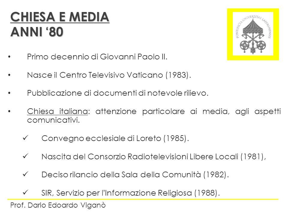 CHIESA E MEDIA ANNI '80 Primo decennio di Giovanni Paolo II.